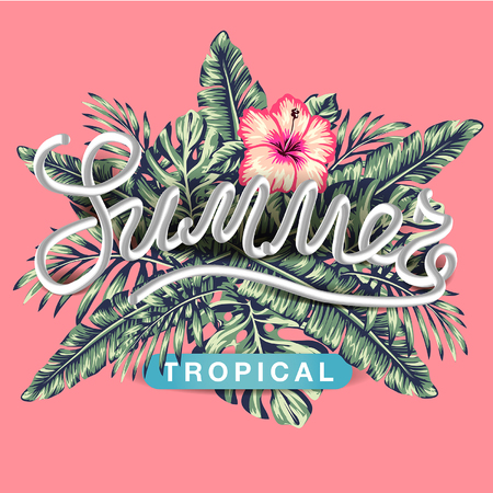 tropical flowers and palms summer banner graphic background exotic floral invitation flyer, Spectacular pastel 向量圖像