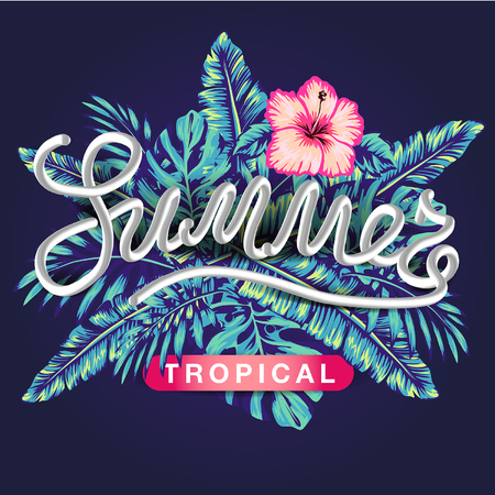 tropical flowers and palms summer banner graphic background exotic floral invitation flyer, Spectacular pastel  イラスト・ベクター素材