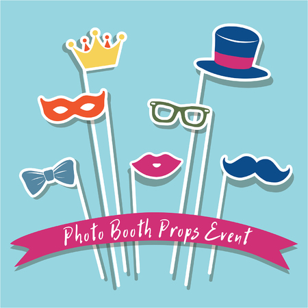 Photo booth props event, Photo booth props for weddings, cute booth props photobooth costume mask collection vector illustration party or carnaval  イラスト・ベクター素材