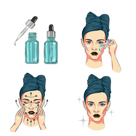 mujer cuidarse la cara pasos cómo aplicar la línea de suero facial, pasos cómo usar el estilo lindo del cuidado de la piel, pasos del cuidado facial Ilustración de vector