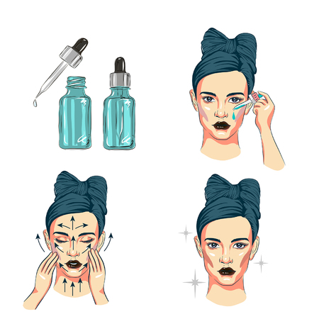 vrouw zorg voor gezichtsstappen hoe gezichtsserumlijn toe te passen, stappen hoe huidverzorging schattige stijl te gebruiken, stappen voor gezichtsverzorging Vector Illustratie