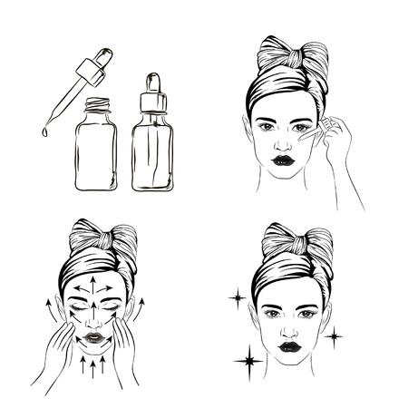 Frau kümmern sich um Gesicht Schritte, wie man Gesichtsserum Linie anwenden, Schritte, wie man Hautpflege niedlichen Stil verwenden, Gesichtspflege Schritte