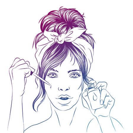 Frau kümmert sich um Gesichtsschritte, wie man eine Gesichtsserumlinie aufträgt, Schritte, wie man Hautpflege süßen Stil verwendet, Gesichtspflegeschritte