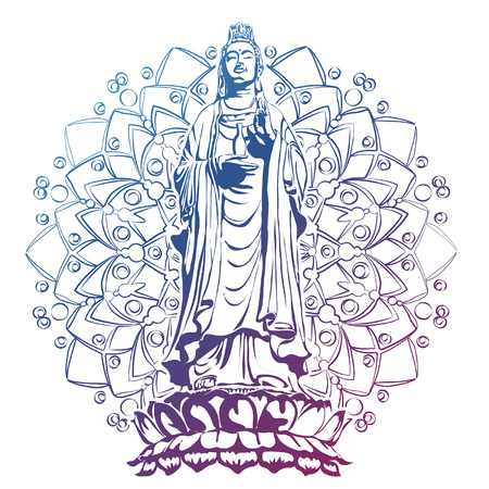 image of statue of the goddess guanine bodhisattva, the goddess of mercy vector illustration chinese guanyin flat style design
