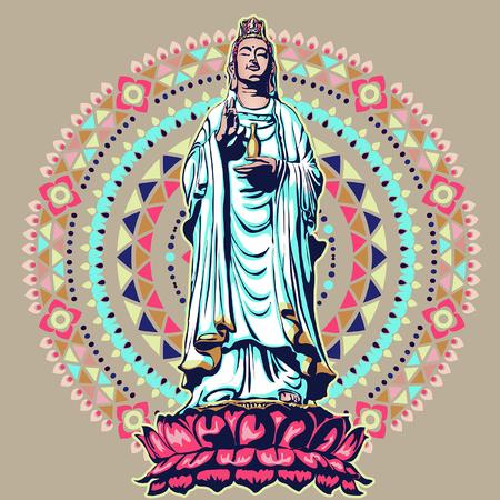 imagen de la estatua de la diosa guanine bodhisattva, la diosa de la misericordia ilustración vectorial diseño de estilo plano chino guanyin Ilustración de vector