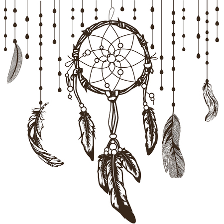 white hand drawn dreamcatcher with floral details and feathers, flat ethnic print design dreamcatcher lettering sleep sweet dreams