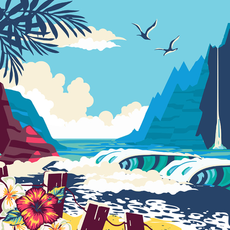 surfing man on a beach palm sand ocean on background banner site poste, hand drawn vector abstract cartoon summer time graphic illustrations art template background with