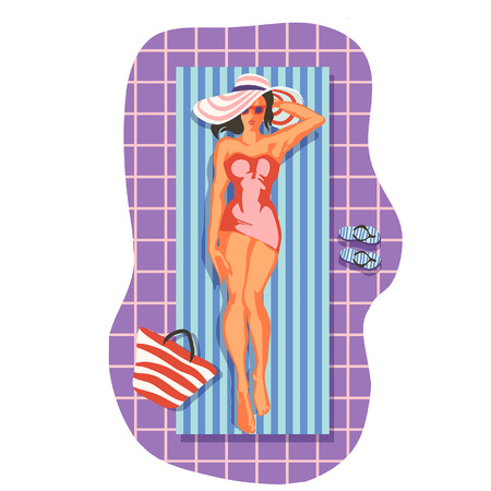 beautiful woman lying on the beach towel near swimming pool top view of pretty girl, summer holiday and summer camp poster traveling template poster badge vector illustration party, girl sunbathing by the pool