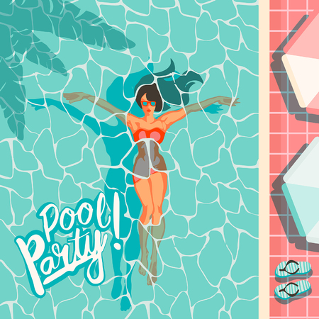 beautiful woman lying on the beach towel near swimming pool top view of pretty girl, summer holiday and summer camp poster traveling template poster badge vector illustration party, girl swims in the pool