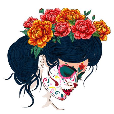 dia de los muertos tag der toten mexikanischen urlaubsfestival vektorplakatbanner und karte mit, anta muerte frau machen zuckerschädel mädchengesicht mit blumenkranz handgezeichnet