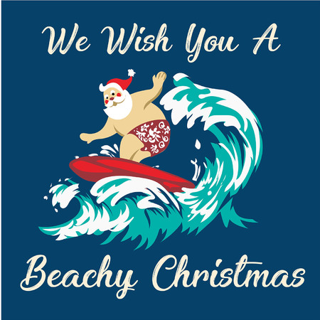 Holiday illustration Santa Claus standing on the beach surfing cheerful cartoon, tropical Christmas and New Year, seaside entertainment