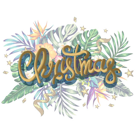 Christmas decorations in tropical style of palm leaves and tropical flowers decorations for the new year Illustration
