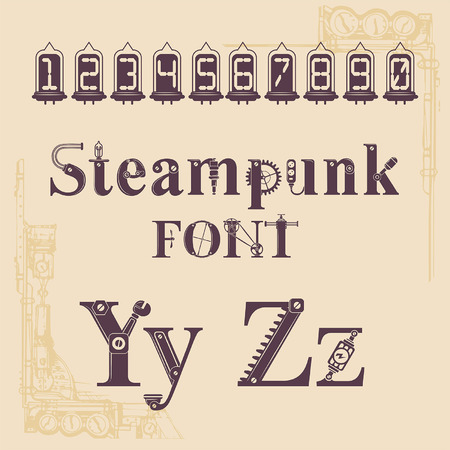 steampunk font, letters from mechanics, Alphabet font from gears and mechanical parts Stock Illustratie