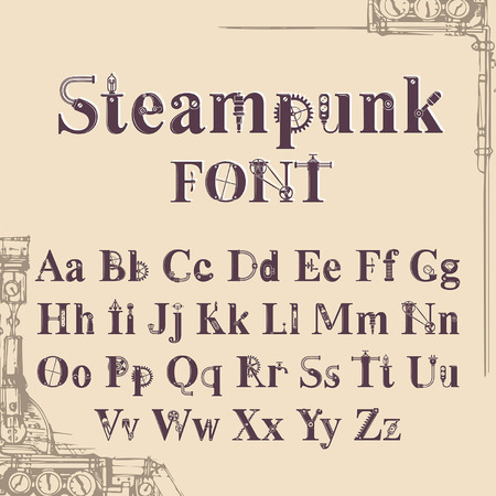 steampunk font, letters from mechanics, Alphabet font from gears and mechanical parts Çizim