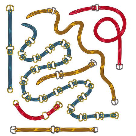 engastado en correas de cadena, trenzas y joyas colgantes, estampado en correas de tela, broches, correas, cadena, nudos y cuerdas náuticas 80s Opulencia Ilustración de vector