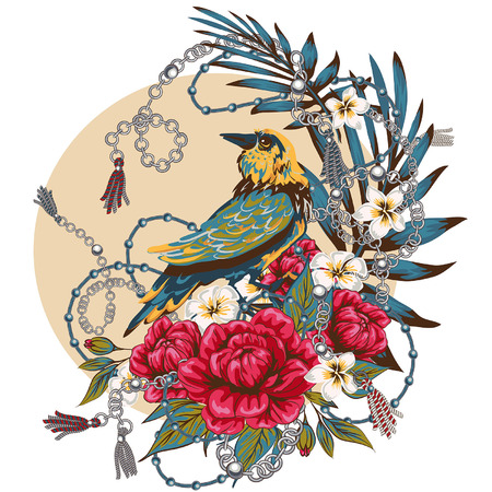Elegance pattern with flowers and birds splendor of the 80s, chic bird chains flowers beautiful background in expensive style