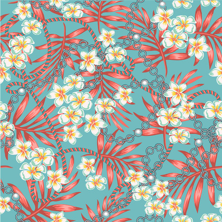 Luxurious, elegant pattern with fashionable accessories tropical flowers the splendor of the 80-ies in color live coral and turquoise seamless pattern with chains, chains and jewelry elements. Womens fashion collection. On the background with the colors of live coral Stock Illustratie