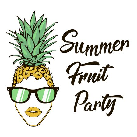 bright poster with a picture of fruit dragon fruit and pineapple in sunglasses, enjoy the summer summer posters dragon fruit and pineapple in sunglasses