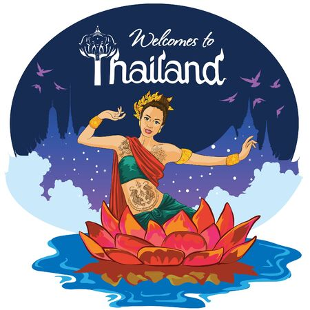 Thailand girl welcomes you in a traditional Thai dance costume, Thai girl in Lotus welcomes you