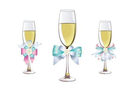 decorated wedding champagne glasses with a beautiful bow Иллюстрация
