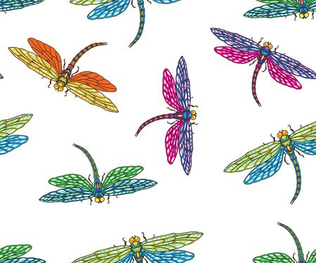 pattern with dragonflies fluttering through space