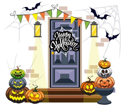 the door is decorated with Halloween pumpkins funny and creepy faces bats lanterns 일러스트
