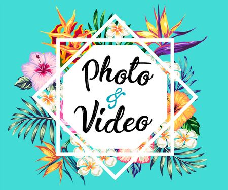 tropical collection with exotic flowers and leaves vector design isolated elements on the white, stock vector tropical a covers hawaiian exotics backgrounds palm leaves with frames use for invitation flyer