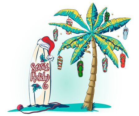 Christmas greeting card with palm tree and tropical leaf. Banner template with luminous garlands for new year holidays. Palm tree decorated with beach Slippers as Christmas decorations