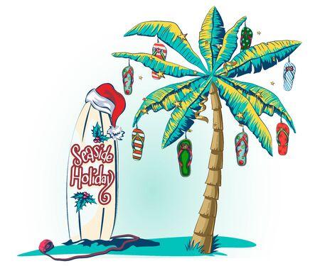 Weihnachtsgrußkarte mit Palme und tropischem Blatt. Bannervorlage mit leuchtenden Girlanden für Neujahrsfeiertage. Palme geschmückt mit Strandpantoffeln als Weihnachtsschmuck