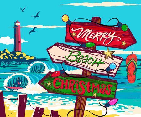 Christmas signs beach, Christmas on the beach, comic signs on the beach, tropical vacation, Illustration