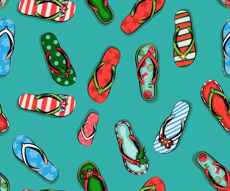 Christmas greeting card with beach Slippers in Christmas new year decor, celebrate Christmas on the beach, Wish you a merry Christmas on the beach, Ilustracja