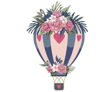 Aerostat Tender pink and blue flowers, Bouquet aerostat vector beautiful floral gift balloon with blooming flowers illustration blooming set of floral roses for a birthday celebration on a white background