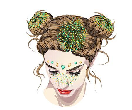 Los peinados más populares COACHELLA Lentejuelas para el cabello, Mujer bonita con maquillaje de pecas brillantes y moños.