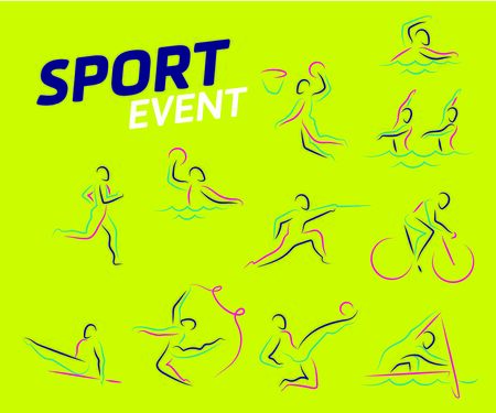 Summer sports icon set  isolated silhouettes of athletes Different kinds of gymnastics, Vector layout design template for sport event. Sport flyer design banner poster.  Çizim