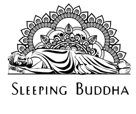 moine phra bouddha assis et dormant sur une base de lotus pour prier la concentration composée de libération. fond de couleur pastel. Vecteurs