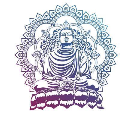 moine phra bouddha assis et dormant sur une base de lotus pour prier la concentration composée de libération. fond de couleur pastel.