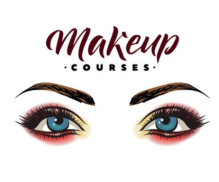 Makeup artist business card template. Vector hand drawn illustration of colorful women eyes make-up. Concept for beauty salon, cosmetics label, visage and makeup, Motivation quote: beauty salon