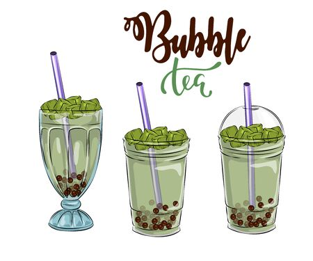Bubble tea cup design collection, Yummy drinks, soft drinks with doodle style banner, Bubble milk tea ads with delicious tapioca and pearl, bubble tea menu graphic template  イラスト・ベクター素材