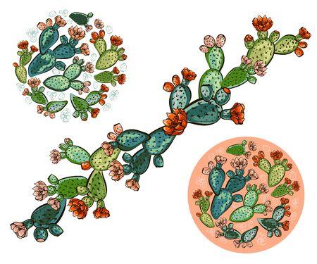 Zestaw bannerów z ręcznie rysowane opuncja, szkic styl wektor ilustracja na białym tle. Dziki kwiatowy egzotyczna roślina tropikalna. Czarno-biały z Opuntia ficus-indica Ilustracje wektorowe