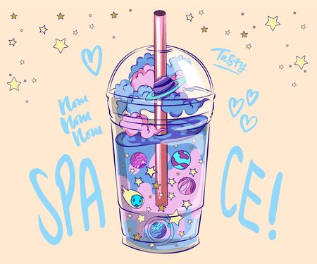 Universe Cocktails, With a glass of drink and the night sky with planets and stars, cosmic cocktails day to night and the universe in pastel colors