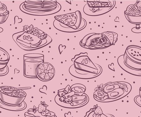 Seamless food and drink food patterns set of fast food doodles on white, Vector illustration.