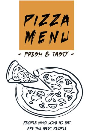 Restaurant food menu design, hand drawn illustrations, Italian Pizza hand drawn vector illustration. Pizza slices label, Packaging design template, Sketch illustration. Иллюстрация