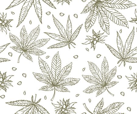 Cannabis leaf seamless vector pattern, cannabis and oil essence CBD patterns infographics about the health benefits of cannabis Illustration