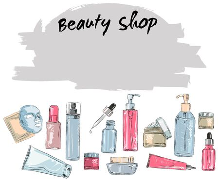 Korean cosmetics. Set of beauti shop banners with hand draw doodle backgrounds. Skincare and Makeup, Vector Illustration Foto de archivo - 133740798