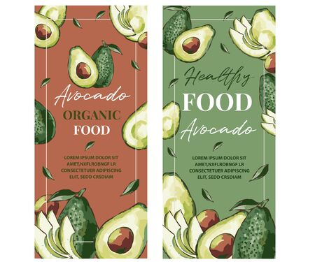 Background for avocado oil label, packaging. Illustration of fresh green avocado and calligraphy. Organic vegetarian food concept. Illustration