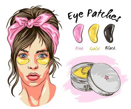 Patches Hautpflege unter den Augen: Augenpflaster gegen Schwellungen, Fältchen, Trockenheit und Augenringe, unter den Augen. Kosmetisches Produkt für die Haut. Koreanische Kosmetik, Schönheitsprodukt für die Augenpflege im Vektor