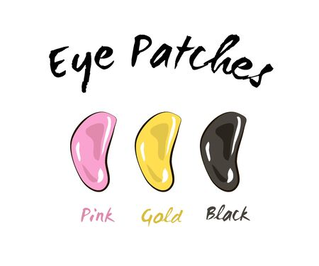 Patches Under eye skin care: eye patches for puffiness, wrinkles, dryness and dark circles, under the eyes. Cosmetic product for skin. Korean cosmetics, Beauty product for eye care in vector