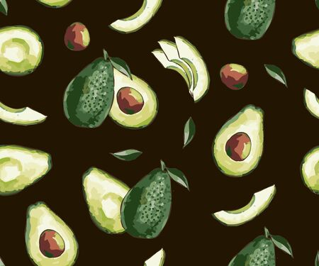 Seamless pattern of ripe avocados with seeds. Seamless exotic vector pattern with sliced avocado on a fashionable background. Healthy eating Print, clothes, blankets