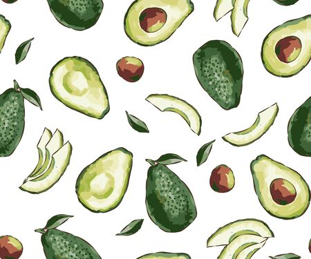 Seamless exotic vector pattern with sliced avocado on a fashionable background. Seamless pattern of ripe avocados with seeds. Healthy eating Print, clothes, blankets, banner and more.