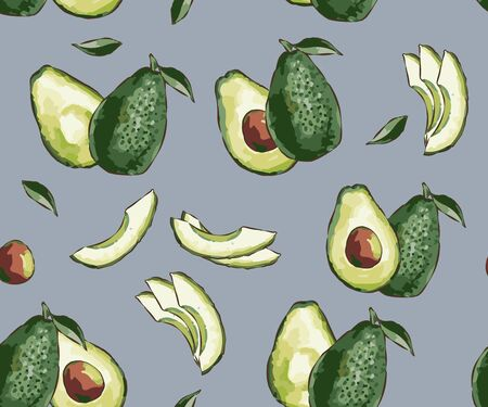 Seamless pattern of ripe avocados with seeds. Seamless exotic vector pattern with sliced avocado on a fashionable background. Healthy eating Print, clothes, blankets Ilustração